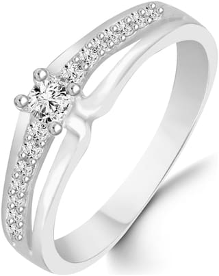 Sukai Jewels Center Solitaire Diamond Studded Rhodium Plated Alloy & Brass Cz American Diamond Finger Ring for Women & Girls
