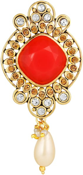 Sukai Jewels Charm Orange Stone Gold Plated Brooch For Women and Girls