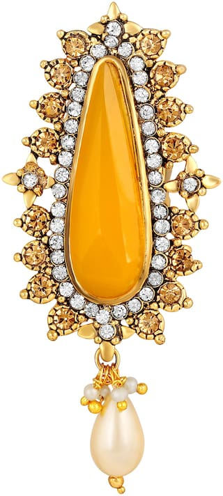 Sukai Jewels Elongated Yellow Stone Gold Plated Brooch For Women and Girls
