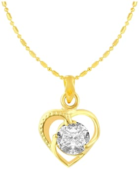 Sukai Jewels Heart Single Solitaire Gold Plated Alloy & Brass Cubic Zirconia Pendant with Chain for Women & Girls [SP507G]