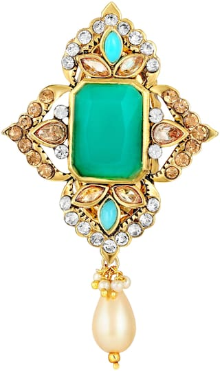 Sukai Jewels Floral Green Stone Gold Plated Brooch For Women and Girls