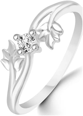 Sukai Jewels Center Diamond Leafy Pattern Rhodium Plated Alloy & Brass Cz American Diamond Finger Ring for Women & Girls [SFR142R]