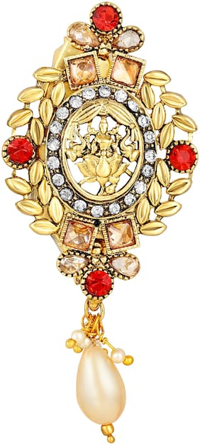 Sukai Jewels Goddess Laxmi Gold Plated Brooch For Women and Girls