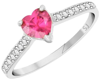 Sukai Jewels Pink Ruby Heart Rhodium Plated Alloy & Brass Cubic Zirconia Finger Ring for Women & Girls [R]