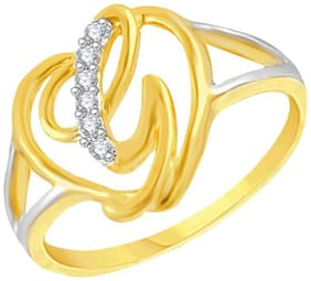Sukai Jewels Intial 'G' Heart Gold Plated Brass Cubic Zirconia Finger Ring for Women & Girls [SAFR197G]