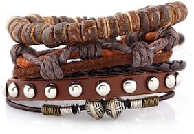 Sukkhi Adjustable Eye-catchy Brown Leather Bracelet for Men
