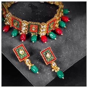 Sukkhi Antique Mint Collection Gold Plated Neckalce Set for Women