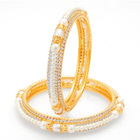 Sukkhi Astonishing Gold Plated Pearl AD Bangle For Women (Pack Of 10)