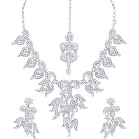 Sukkhi Attractive AD Rhodium Plated necklace set for women + Free Earphones With Mic Worth Rs. 799/-