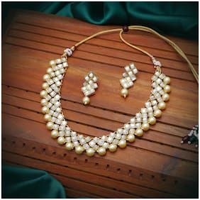 Sukkhi Glimmery Pearl Gold Plated Wedding Jewellery Kundan Choker Necklace Set for Women