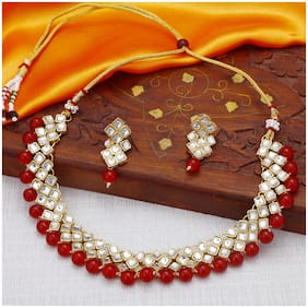 Sukkhi Exotic Kundan Gold Plated Wedding Jewellery Choker Necklace Set for Women