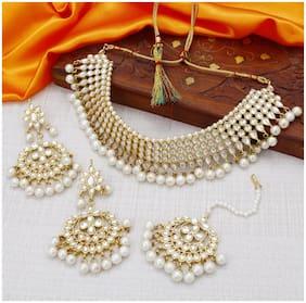 Sukkhi Traditional Pearl Gold Plated Wedding Jewellery Kundan Choker Necklace Set for Women