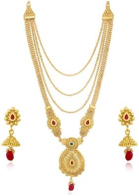 Sukkhi Splendid Gold Plated Wedding Jewellery Long Haram Necklace Set For Women