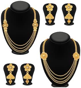 Sukkhi Dazzling Jalebi 4 String Gold Plated Set of 2 Necklace Set Combo For Women
