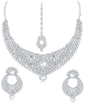 Sukkhi Delightly AD Rhodium Plated necklace set for women + Free Earphones With Mic Worth Rs. 799/-