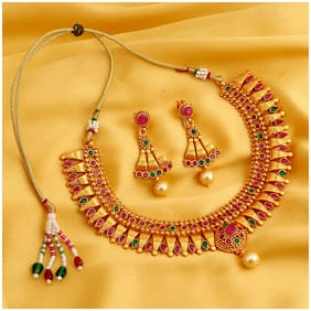 Sukkhi Delightly Gold Plated Bahubali Inspired Choker Necklace Set for women