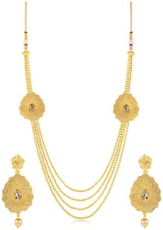 Sukkhi Delightly 4 String Jalebi Gold Plated Necklace set for women