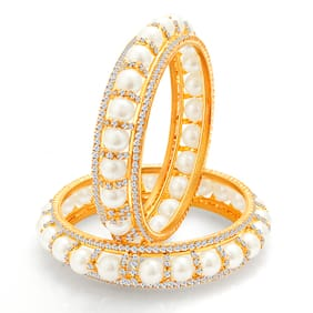 Sukkhi Divine Gold Plated Pearl AD Bangle For Women (Pack Of 10)