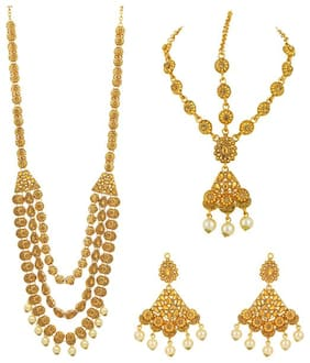 Sukkhi Exotic Gold Plated LCT Stone Long Haram Dulhan Set for Women