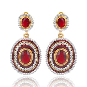 Sukkhi Exquitely Meenakari Gold Plated AD Earring For Women (Pack Of 5)