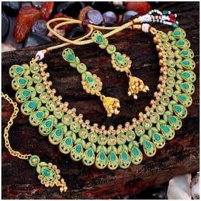 Sukkhi Eye-Catching Gold Plated Choker Necklace Set For Women