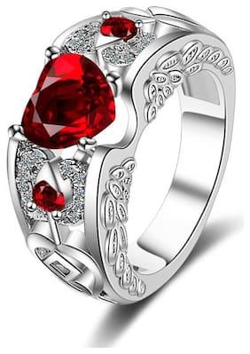 Sukkhi Eye-catchy Valentine Heart Australian Diamond Rhodium Plated Ring for Women