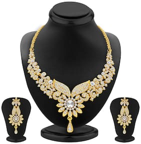 Sukkhi Fabulous Gold Plated Wedding Jewellery Austrian Diamond Choker Necklace Set For Women