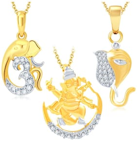 Sukkhi Fine Ganesha Gold Plated Set of 3 God Pendant with Chain Combo