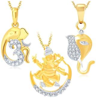 Sukkhi Fine Ganesha Gold Plated Set of 3 God Pendant with Chain Combo