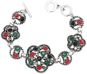 Sukkhi Floral Oxidized Silver Bracelet With Multi Colored Stones For Women
