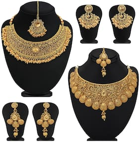 Sukkhi Glamorous LCT Gold Plated Wedding Jewellery Pearl Choker Necklace Set Combo of 2 For Women
