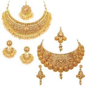 Sukkhi Glamorous Gold Plated Choker Necklace Set Combo For Women