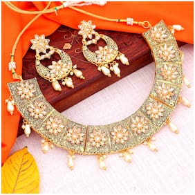 Sukkhi Glamorous Mint Collection Gold Plated Choker Necklace Set For Women