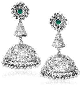 Sukkhi Gleaming Oxidised Floral Jhumki Earrings For Women