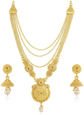 Sukkhi Gleaming Pearl Gold Plated Wedding Jewellery LCT Stone Long Haram Necklace Set For Women