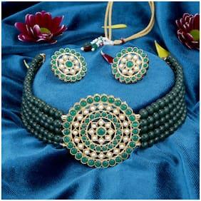 Alloy Green;White Choker Necklace Set