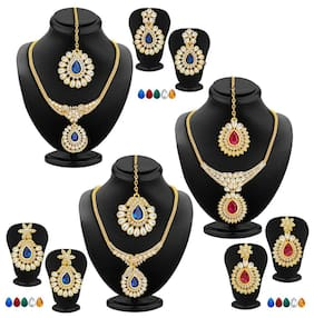 Sukkhi Glittery Gold Plated AD Set of 3 Necklace Set with Set of 15 Changeable Stone Combo For Women