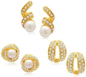 Sukkhi Divine Gold Plated Alloy Set of 3 Stud Earrings Combo for Women
