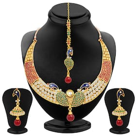 Sukkhi Intricately Crafted Peacock Gold Plated AD Necklace Set for Women