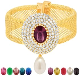 Sukkhi Exquisite Gold Plated AD Ten Changeable Stone Kada For Women