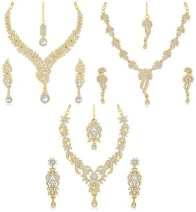 Sukkhi Brass Gold 3 Pieces Strand Necklace With Earrings Set For Women