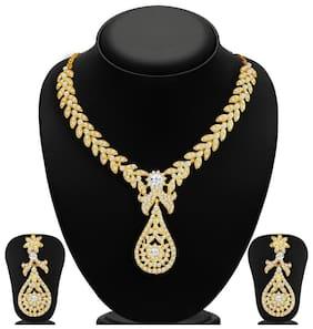 Sukkhi Stylish Gold Plated AD Necklace Set for Women