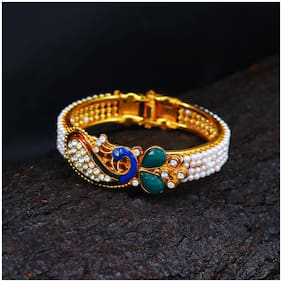 Sukkhi Ethnic Pearl Gold Plated Wedding Jewellery Peacock Meenakari Kada For Women