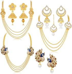 Sukkhi Gorgeous Peacock Gold Plated Set Of 3 Necklace Set Combo For Women