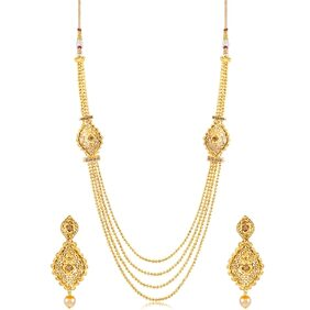 Sukkhi Graceful 4 String Fliligree Gold Plated Necklace set for women + Free Earphones With Mic Worth Rs. 799/-