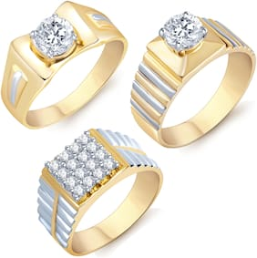 Sukkhi Graceful Gold Plated Solitaire Set Of 3 Gents Ring Combo For Women