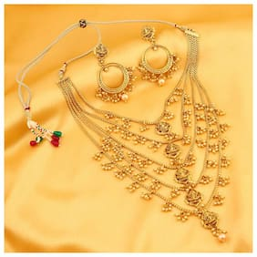 Sukkhi Graceful Pearl Gold Plated Wedding Jewellery Laxmi Multi-String Necklace Set For Women
