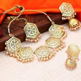 Sukkhi Hexagon Designer Gold Plated Wedding Jewellery Pearl Choker Necklace Set For Women