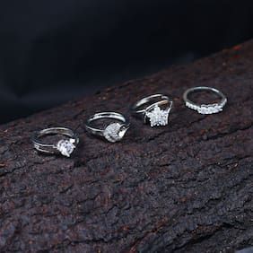 Sukkhi Incredible Rhodium Plated Cz Ring Combo Set of 4 for Women