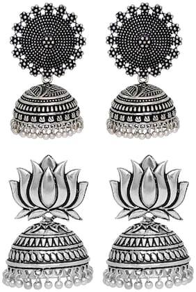 Sukkhi Incredible oxidised Filigree Jhumkis combo set (Set of 2)